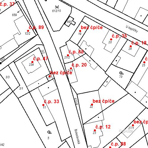 Katastrální mapa Stavební objekt Chrást 20, Tišice