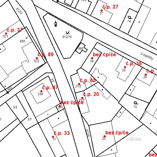 Katastrální mapa Stavební objekt Chrást 65, Tišice