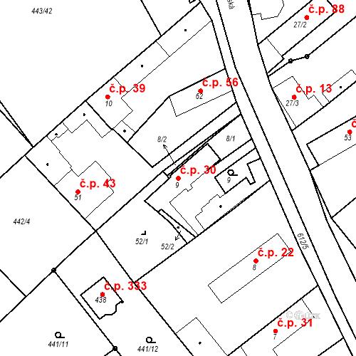 Katastrální mapa Stavební objekt Chrást 30, Tišice