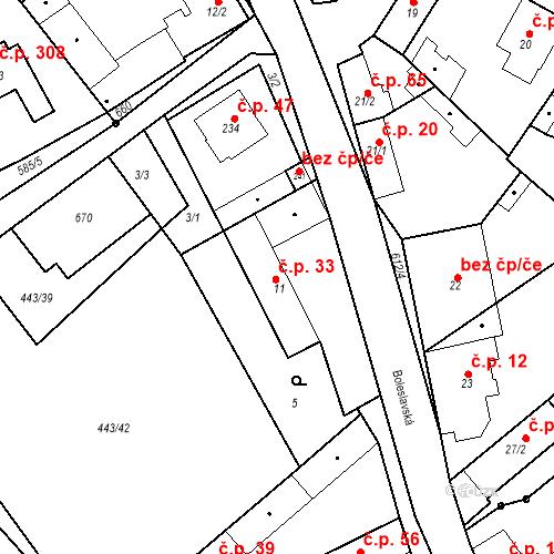 Katastrální mapa Stavební objekt Chrást 33, Tišice