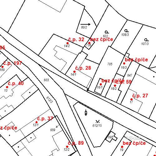 Katastrální mapa Stavební objekt Chrást 28, Tišice