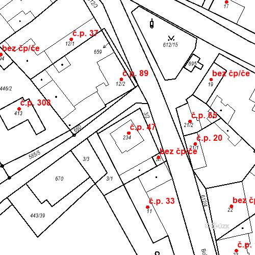 Katastrální mapa Stavební objekt Chrást 47, Tišice