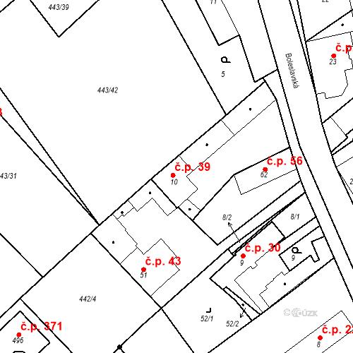 Katastrální mapa Stavební objekt Chrást 39, Tišice
