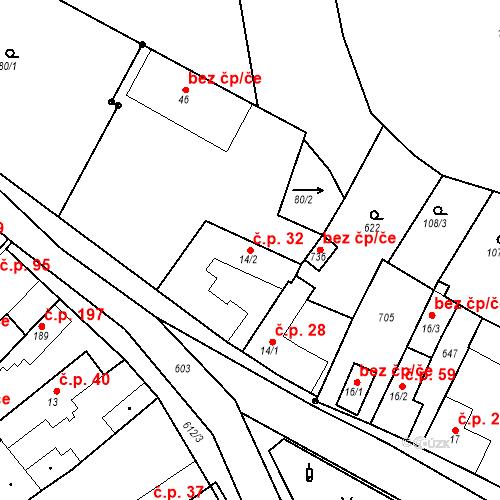 Katastrální mapa Stavební objekt Chrást 32, Tišice