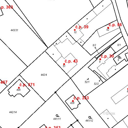 Katastrální mapa Stavební objekt Chrást 43, Tišice