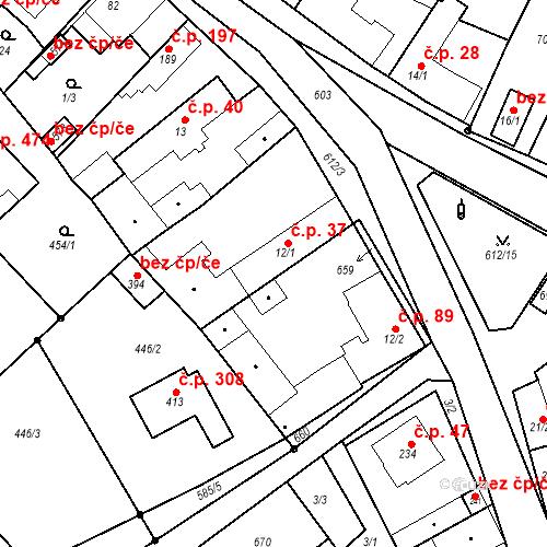 Katastrální mapa Stavební objekt Chrást 37, Tišice