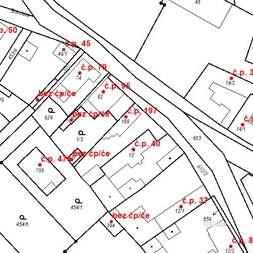 Katastrální mapa Stavební objekt Chrást 197, Tišice