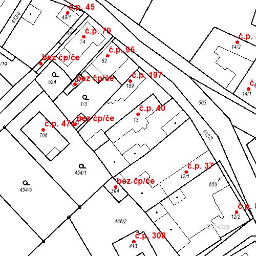 Katastrální mapa Stavební objekt Chrást 40, Tišice