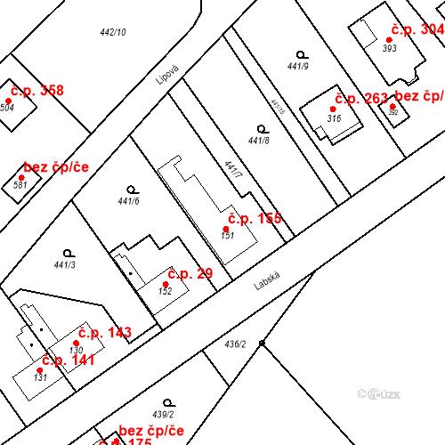 Katastrální mapa Stavební objekt Chrást 155, Tišice