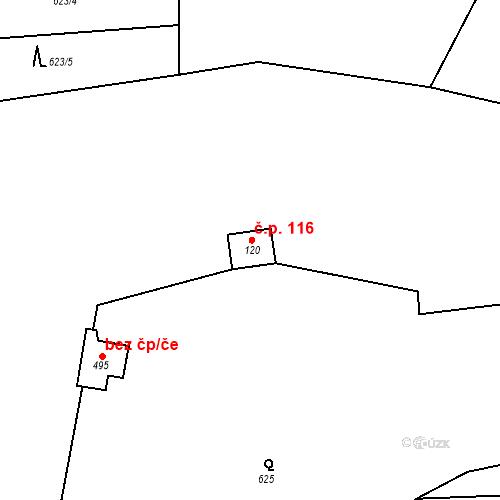 Katastrální mapa Stavební objekt Kozly 116, Tišice