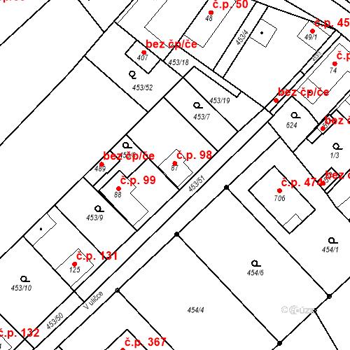Katastrální mapa Stavební objekt Chrást 98, Tišice