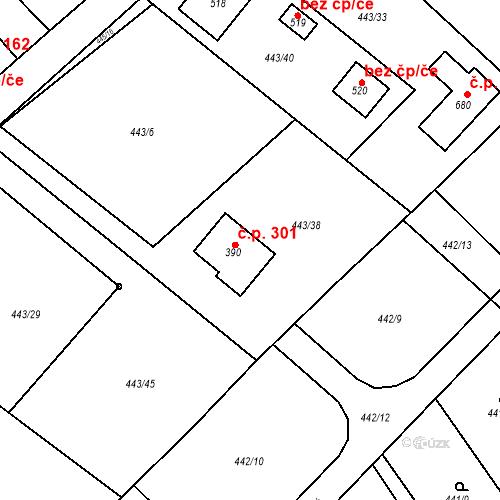 Katastrální mapa Stavební objekt Chrást 301, Tišice