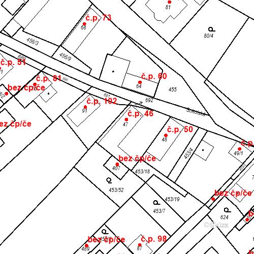Katastrální mapa Stavební objekt Chrást 46, Tišice