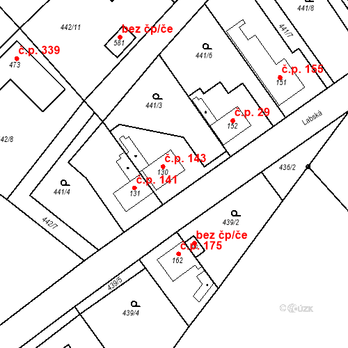 Katastrální mapa Stavební objekt Chrást 143, Tišice