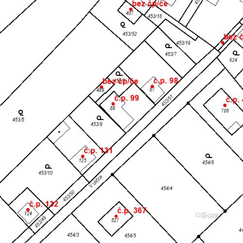 Katastrální mapa Stavební objekt Chrást 99, Tišice