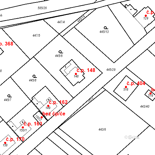 Katastrální mapa Stavební objekt Chrást 148, Tišice