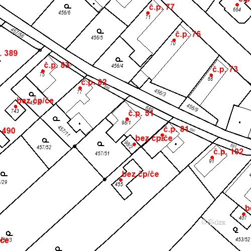Katastrální mapa Stavební objekt Chrást 51, Tišice