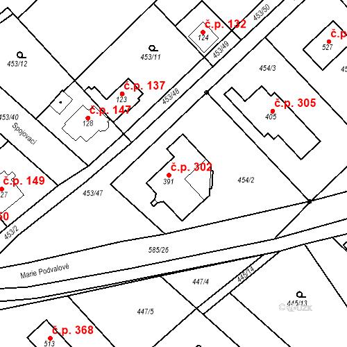 Katastrální mapa Stavební objekt Chrást 302, Tišice