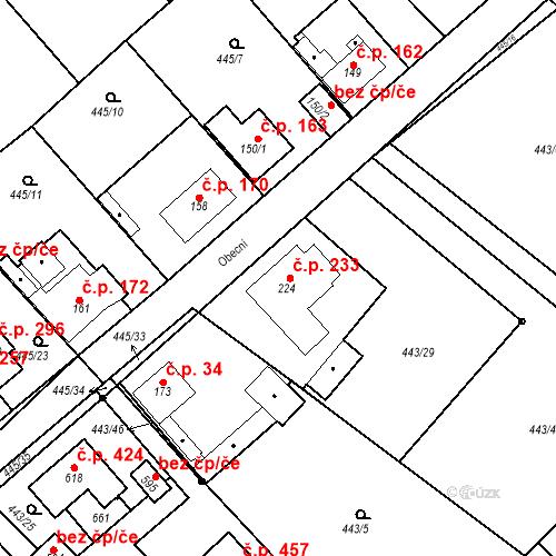 Katastrální mapa Stavební objekt Chrást 233, Tišice