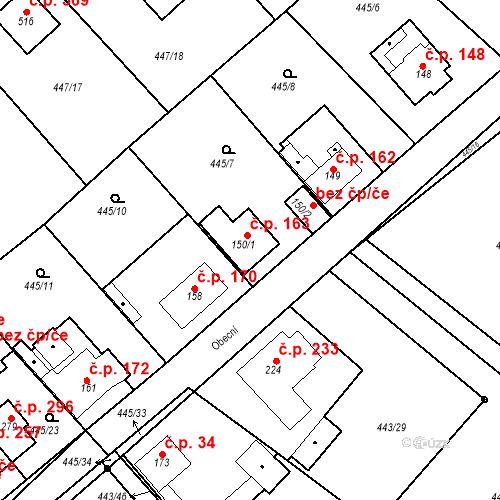 Katastrální mapa Stavební objekt Chrást 163, Tišice