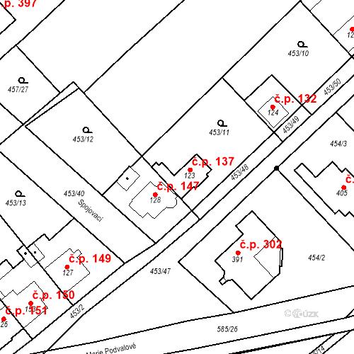 Katastrální mapa Stavební objekt Chrást 137, Tišice
