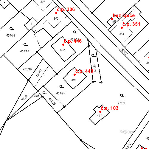 Katastrální mapa Stavební objekt Bystřice 440, Bystřice