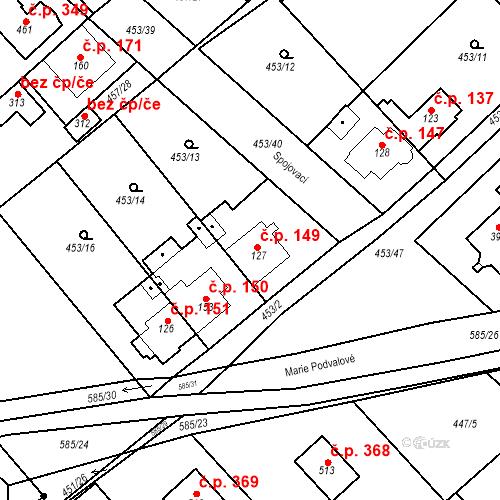 Katastrální mapa Stavební objekt Chrást 149, Tišice