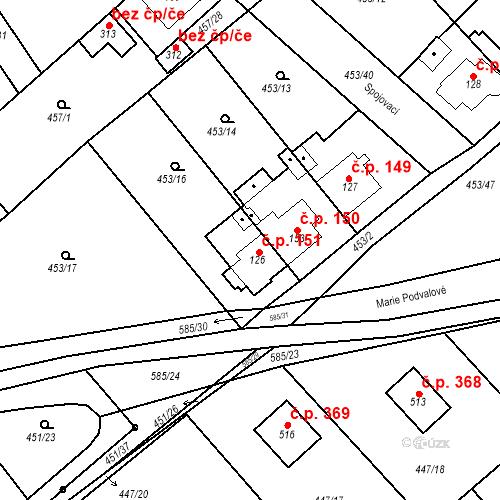 Katastrální mapa Stavební objekt Chrást 151, Tišice