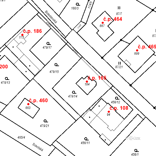 Katastrální mapa Stavební objekt Chrást 165, Tišice
