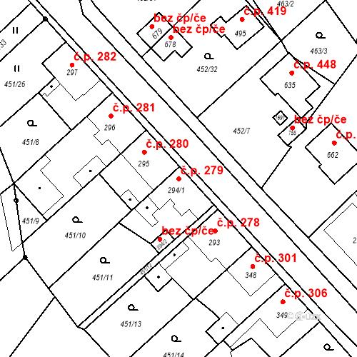 Katastrální mapa Stavební objekt Bystřice 279, Bystřice