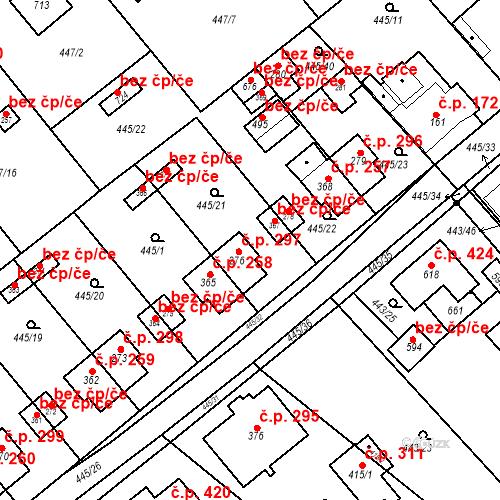 Katastrální mapa Stavební objekt Chrást 297, Tišice