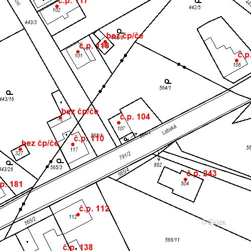Katastrální mapa Stavební objekt Kozly 104, Tišice