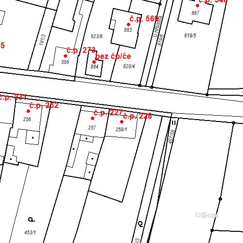 Katastrální mapa Stavební objekt Bystřice 228, Bystřice