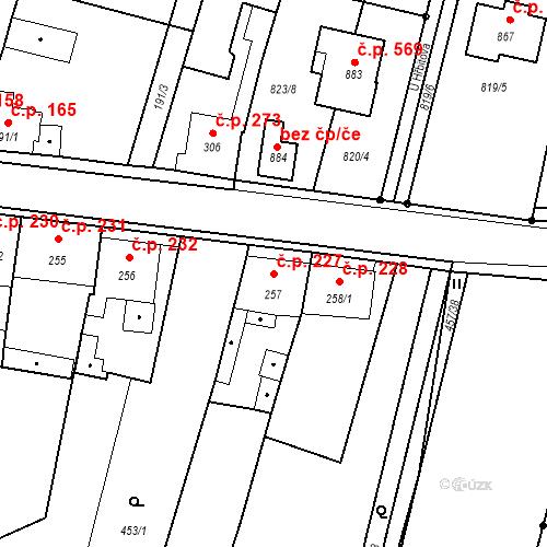 Katastrální mapa Stavební objekt Bystřice 227, Bystřice