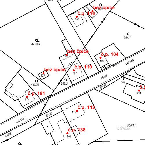 Katastrální mapa Stavební objekt Kozly 110, Tišice