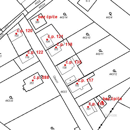 Katastrální mapa Stavební objekt Chrást 135, Tišice