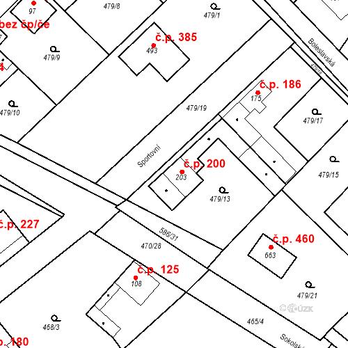 Katastrální mapa Stavební objekt Chrást 200, Tišice
