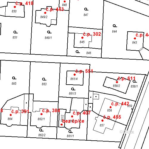 Katastrální mapa Stavební objekt Běchovice 551, Praha