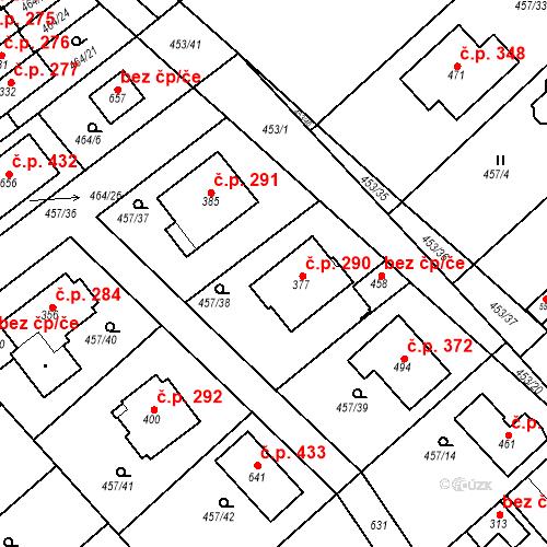 Katastrální mapa Stavební objekt Chrást 290, Tišice