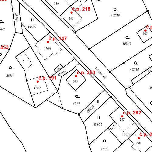 Katastrální mapa Stavební objekt Bystřice 253, Bystřice