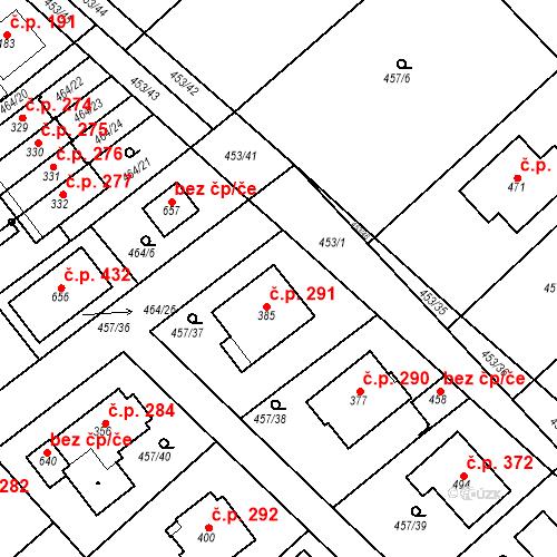 Katastrální mapa Stavební objekt Chrást 291, Tišice