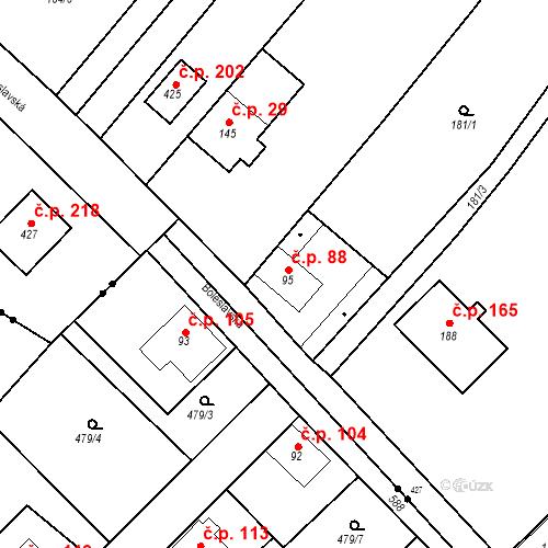 Katastrální mapa Stavební objekt Tišice 88, Tišice