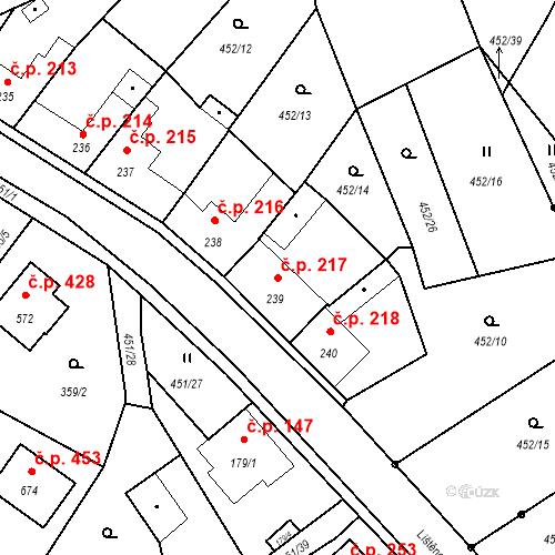 Katastrální mapa Stavební objekt Bystřice 217, Bystřice