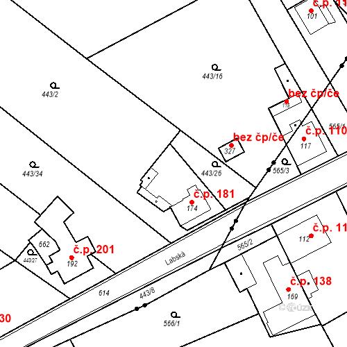 Katastrální mapa Stavební objekt Chrást 181, Tišice