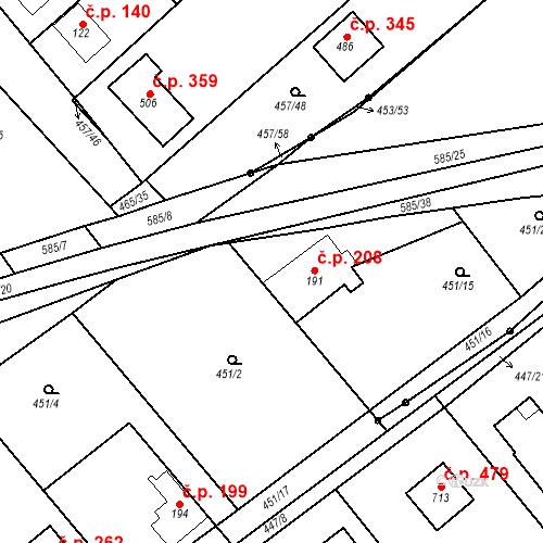 Katastrální mapa Stavební objekt Chrást 208, Tišice