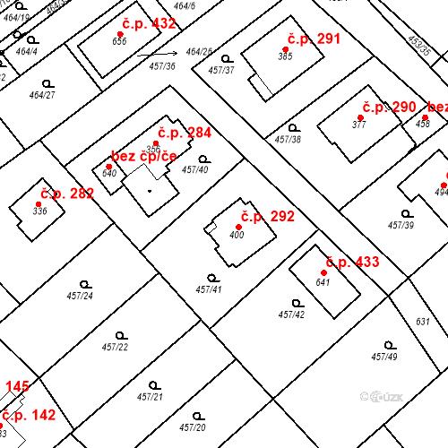 Katastrální mapa Stavební objekt Chrást 292, Tišice