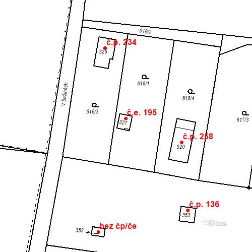 Katastrální mapa Stavební objekt Kozly 195, Tišice