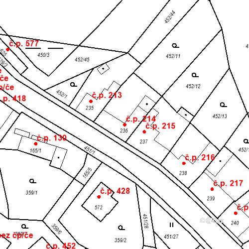 Katastrální mapa Stavební objekt Bystřice 214, Bystřice