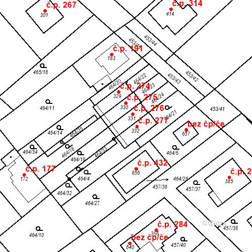 Katastrální mapa Stavební objekt Chrást 277, Tišice