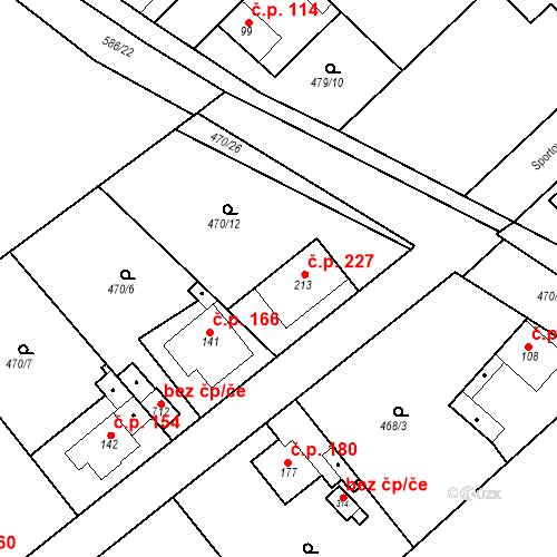 Katastrální mapa Stavební objekt Chrást 227, Tišice